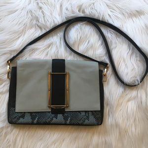 Pour La Victoire Snakeskin color block Saddle Bag